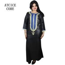 Afrykańskie stroje dla kobiet miękki materiał haft projekt sukienka LA029
