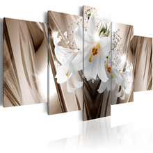 5 Pieces Canvas Wall Art Fresh white lily flower abstract exquisite backgroundHome Decoratives Paintings Framed PJMT- (33)