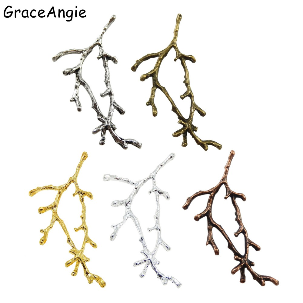 Plated Gold Color Brass Branch Shaped Charms Pendant Jewelry Finding 15pcs 51684