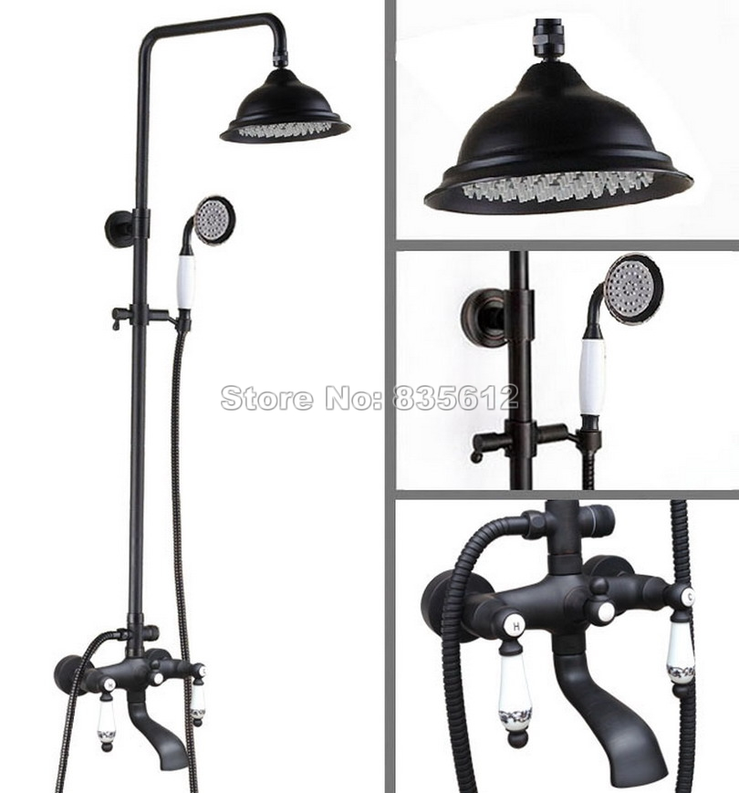 Bathroom Wall Mounted Black Oil Rubbed Bronze 8.2 inch Shower Head Rain Shower Faucet Set Hold Shower Bath Tub Mixer Tap Whg124