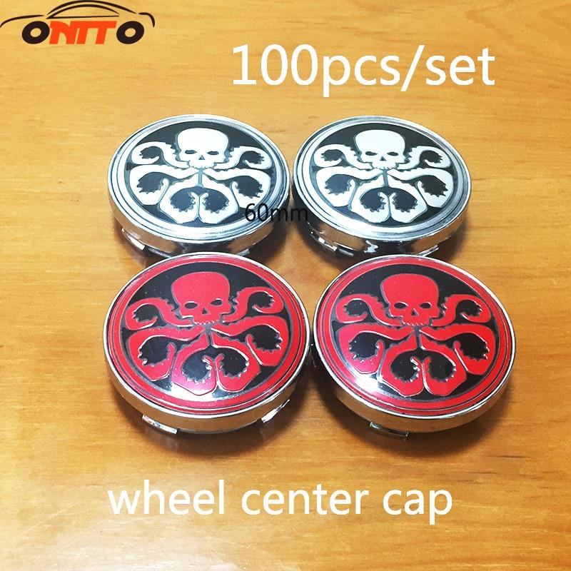 Good quality 100pcs/set 60mm Wheel Center Hub Caps Dust proof Badge logo covers car emblem cap for Hydra logo car styling