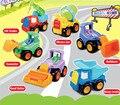 6 pçs/lote conjunto divertido puxar para trás do carro hot wheels toys construção caminhões crianças pullback veículo toys