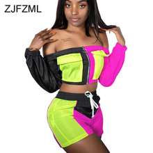 Neon Color Spliced Sexy 2 Piece Sweat Suit Women Festival Clothing Off Shoulder Full Sleeve Crop Top+Bodycon Shorts Matching Set