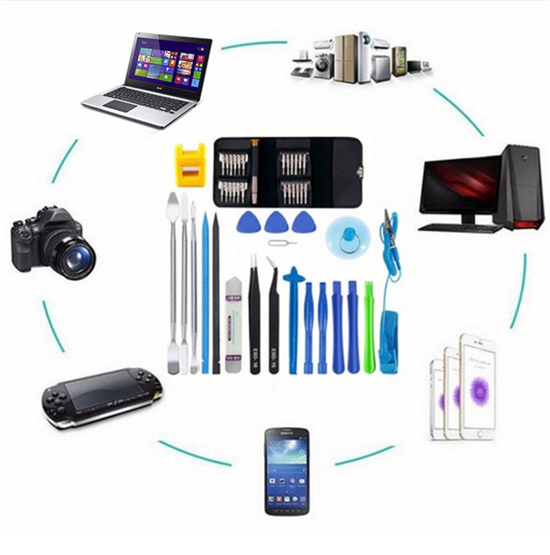 45 in 1 Mobile Phone Repair Tool Kit Multi Opening Disassembly Repair Tool set for iphone for Samsung xiaomi Hand Tools for pad
