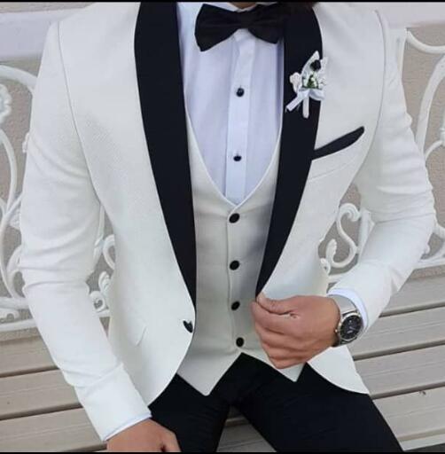 2019-Latest-Coat-Pant-Designs-White-Men-Suits-Black-Shawl-Lapel-Formal-Tuxedos-Wedding-Suits-For
