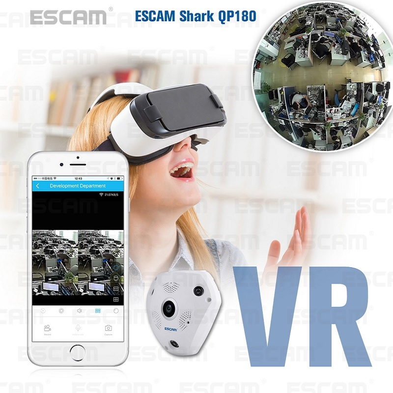ESCAM HD Cctv Fisheye Ip Camera Wifi 360 Degree Panoramic 960P Wireless Onvif Security VR Cam Support Two Way Audio QP180 1 3mp hd wifi camera ip 360 degree panoramic fisheye lens ip camera wifi wireless two way audio night vision wifi ip camera