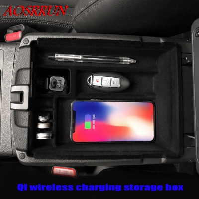 Qi Wireless Charging Box For Nissan X Trail Rogue T32 2017 Central Storage