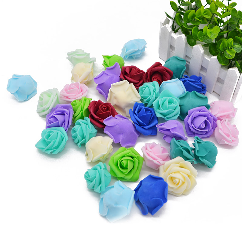 30pcs 4cm Multicolor Artificial PE Foam Rose Flower Head Multi-Use For Wedding Party Decor Home DIY Wreaths Craft Gift Supplies
