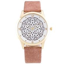 2016 Mode Fleur Motif Creux Femmes Montres De Luxe Marque Robe Montre-Bracelet Élégant Quart-montre Reloj Mujer Horloge