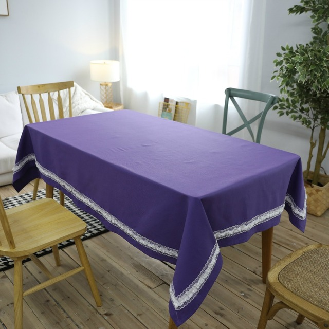Solid Color Purple Printed Tablecloth High Quality Cotton Table Cover  American Style Embroidered Lace Edge Dining