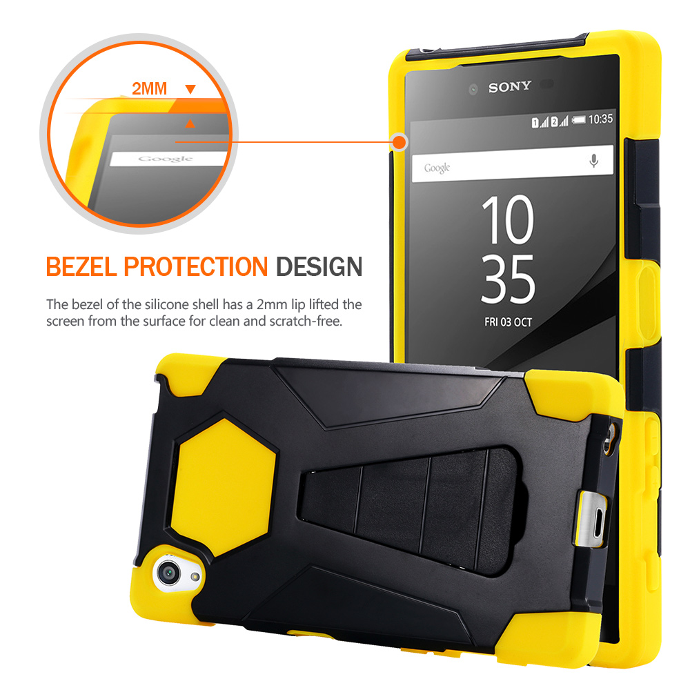 premium selection 5164a aab33 US $7.99 |For Sony Xperia Z5 5,2'' Armor Rugged Hybrid Stand Cover premium  soft Silicone hard PC protect cell phone shell black yellow on ...