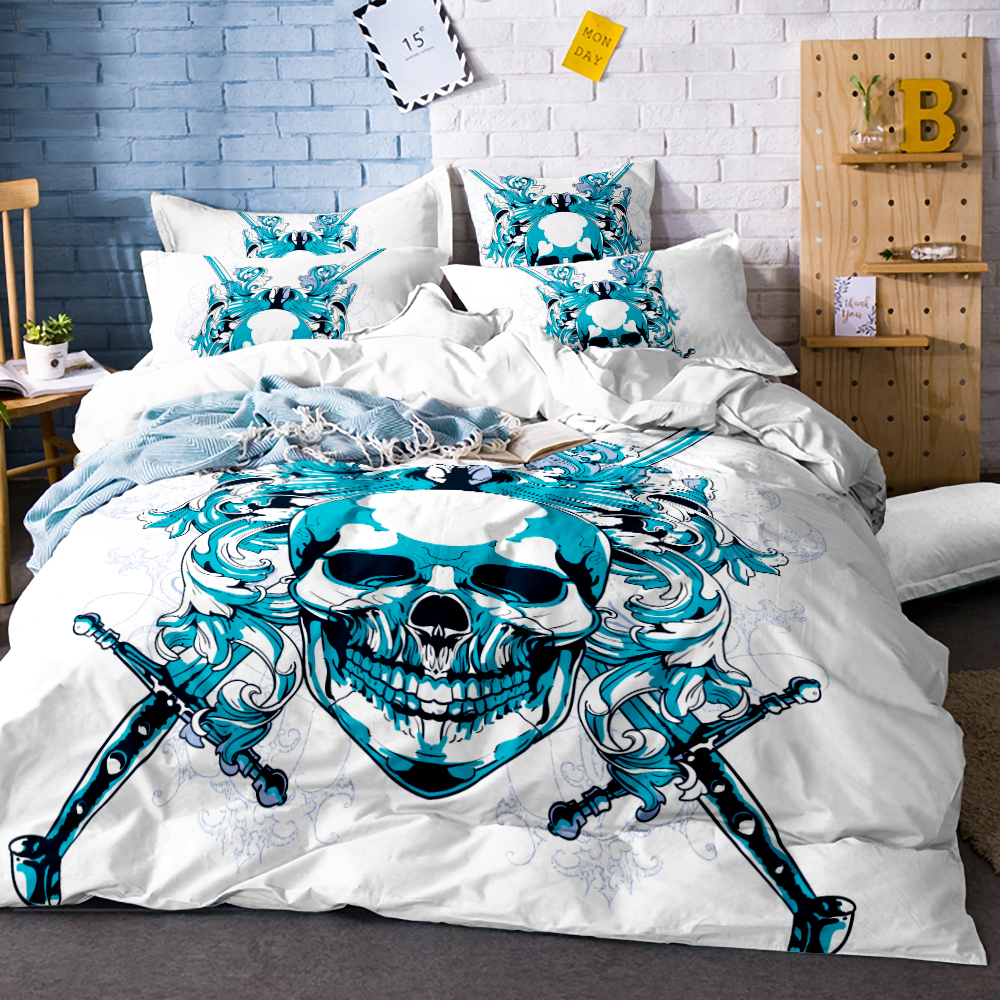 Colorful Skull and Floral Duvet Cover Set 3 Pieces Super Soft Bedclothes Flowers Printed Bedding Luxury