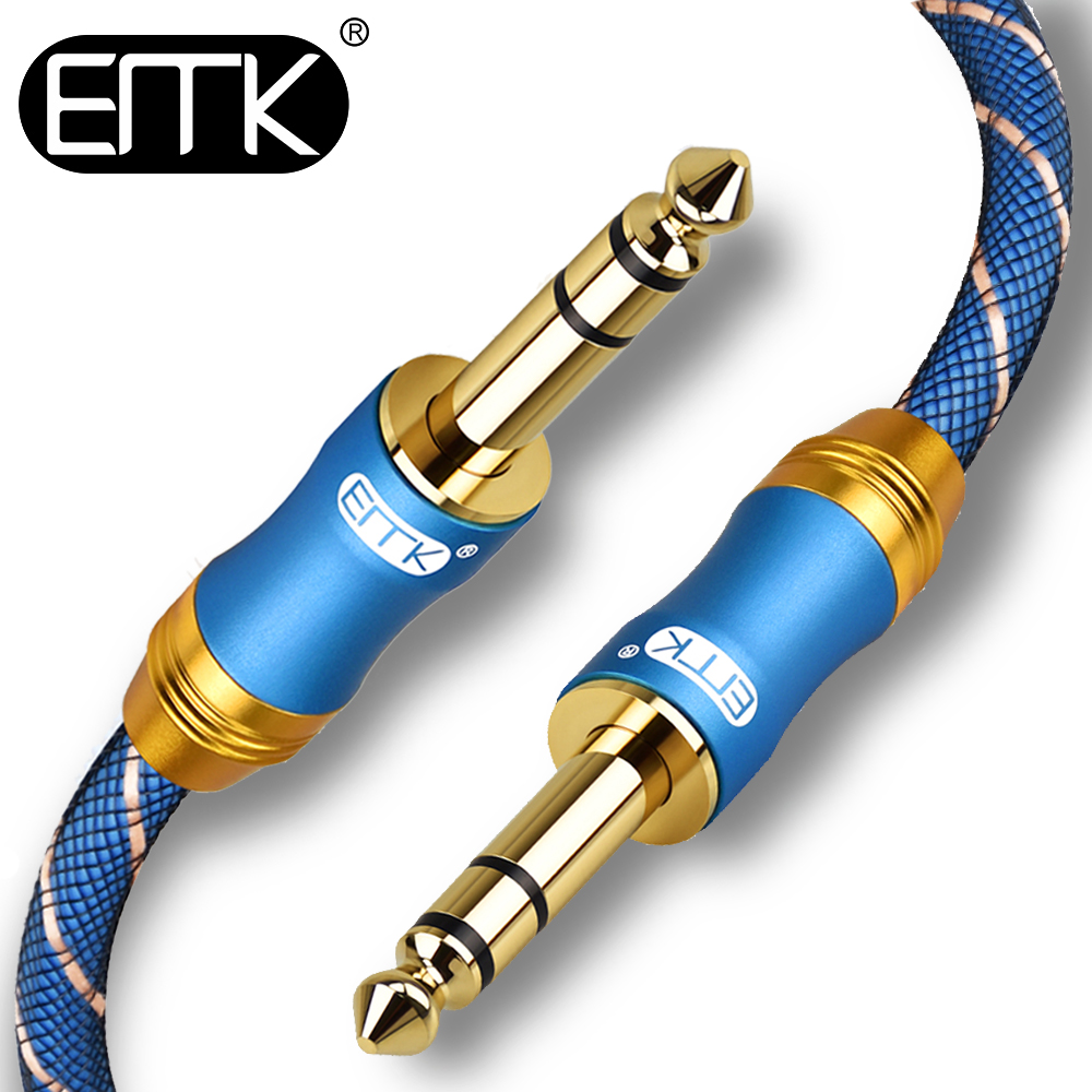 EMK 6.35 Jack Cable 6.35mm Aux Cable Dual 6.5 Jack Male To Male 6.5 Audio Cable 2m 3m 5m 8m 10m Hifi For Guitar Amplifier Mixer