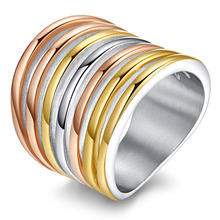 Multi Layers Rings Titanium Steel Rose Gold/Sliver/Yellow Mixed Colors Rings For Male Party Jewelry Punk Style Gift Hot RC-080