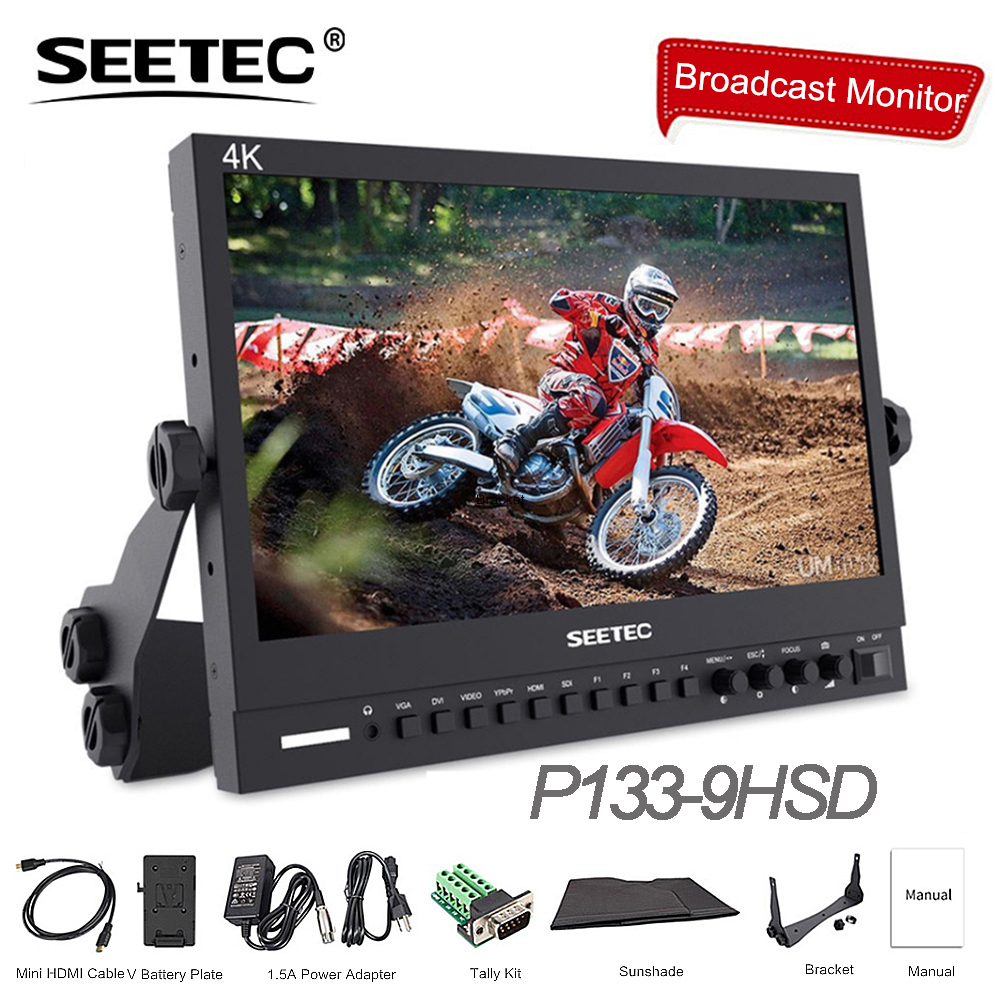 Seetec P133-9HSD 13.3 IPS 3g SDI 4 k HDMI Moniteur de Diffusion Full HD 1920x1080 Vidéo Sur Le Terrain bureau LCD Moniteur avec AV DVI