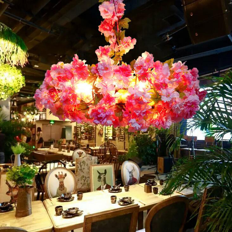 Industrial wind music bar plant lighting flower bar simulation cherry blossom chandelier theme restaurant cafe chandelier худи print bar hypster flower