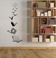 Виниловые наклейки на стену Открытая книга для чтения школьная библиотека классная кабинет спальня домашний настенный Декор стикер YD16