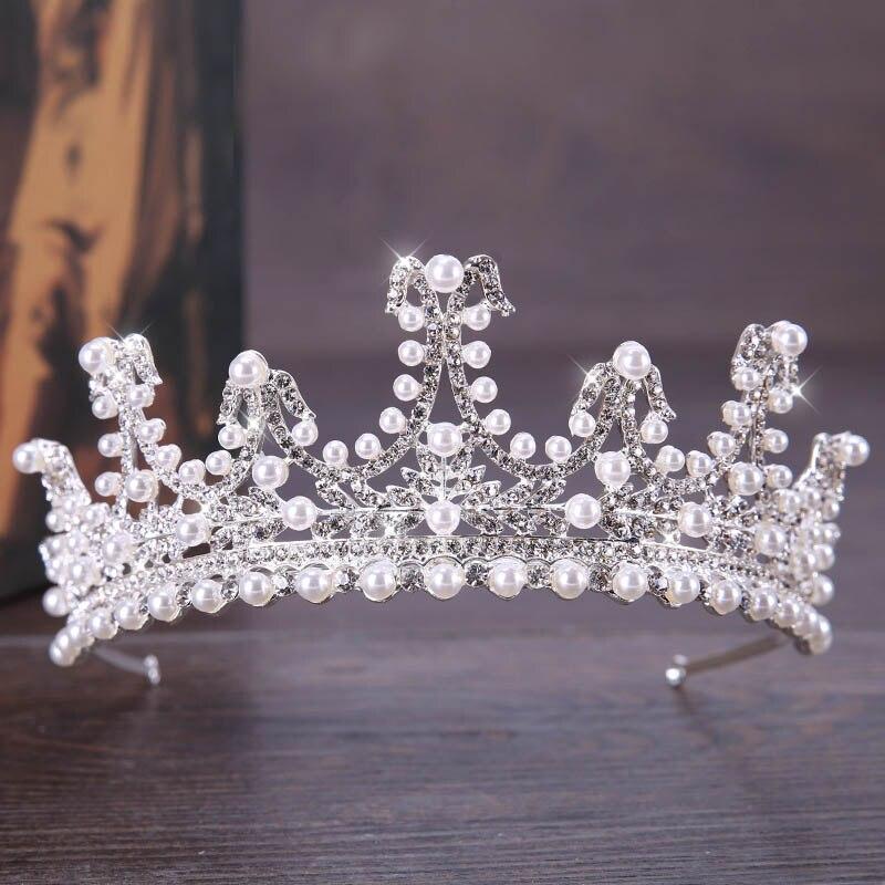 Woman Gorgeous Crystal Pearl Bridal Crown Tiaras Princess Queen Coronal Headpiece Bride Headbands Wedding Hair Accessories SL
