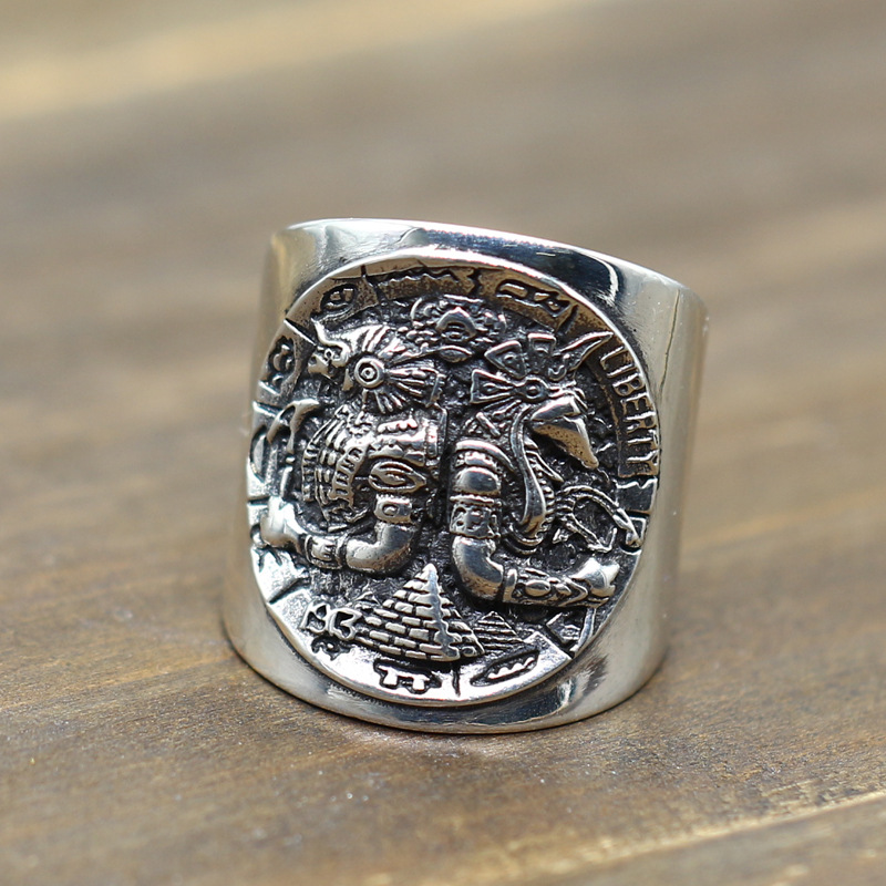 S925 Sterling Silver personality, Horus anus, vagabond coin opening ring, Thai silver ancient Egyptian god ring.