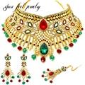 Роскошные Индийские Позолоченные Ювелирные Изделия Устанавливает Ожерелье Choker Серьги Головной Убор 3 ШТ. Люкс Для kundan ювелирные изделия для Женщин Партии Г-Жа bijoux