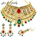 Chapado en oro de lujo indio sistemas de la joyería collar choker pendientes tocado 3 unid nupcial kundan joyería para las mujeres del partido señora bijoux