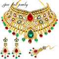 Luxury Indian Gold Plated Jewelry Sets Necklace Choker Earrings Headdress 3PC Bridal kundan jewellery for Women Party Mme bijoux