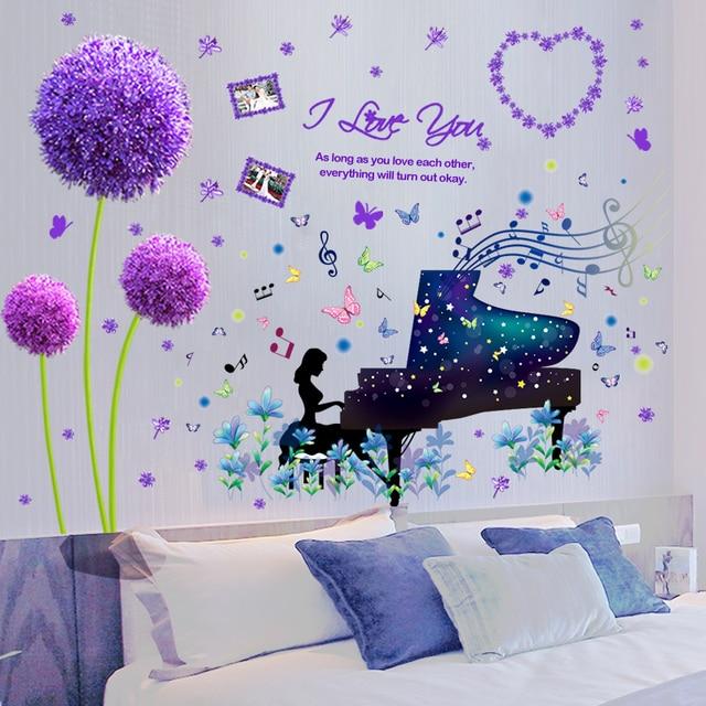[SHIJUEHEZI] Piano Performance Girl Wall Sticker Vinyl DIY Purple Color Dandelion Wall Art for Kids Room Living Room Decoration