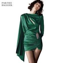 НОВЫЕ шикарные драпированные Украшенные бриллиантами дизайнерские вечерние мини-платья с длинными рукавами и круглым вырезом