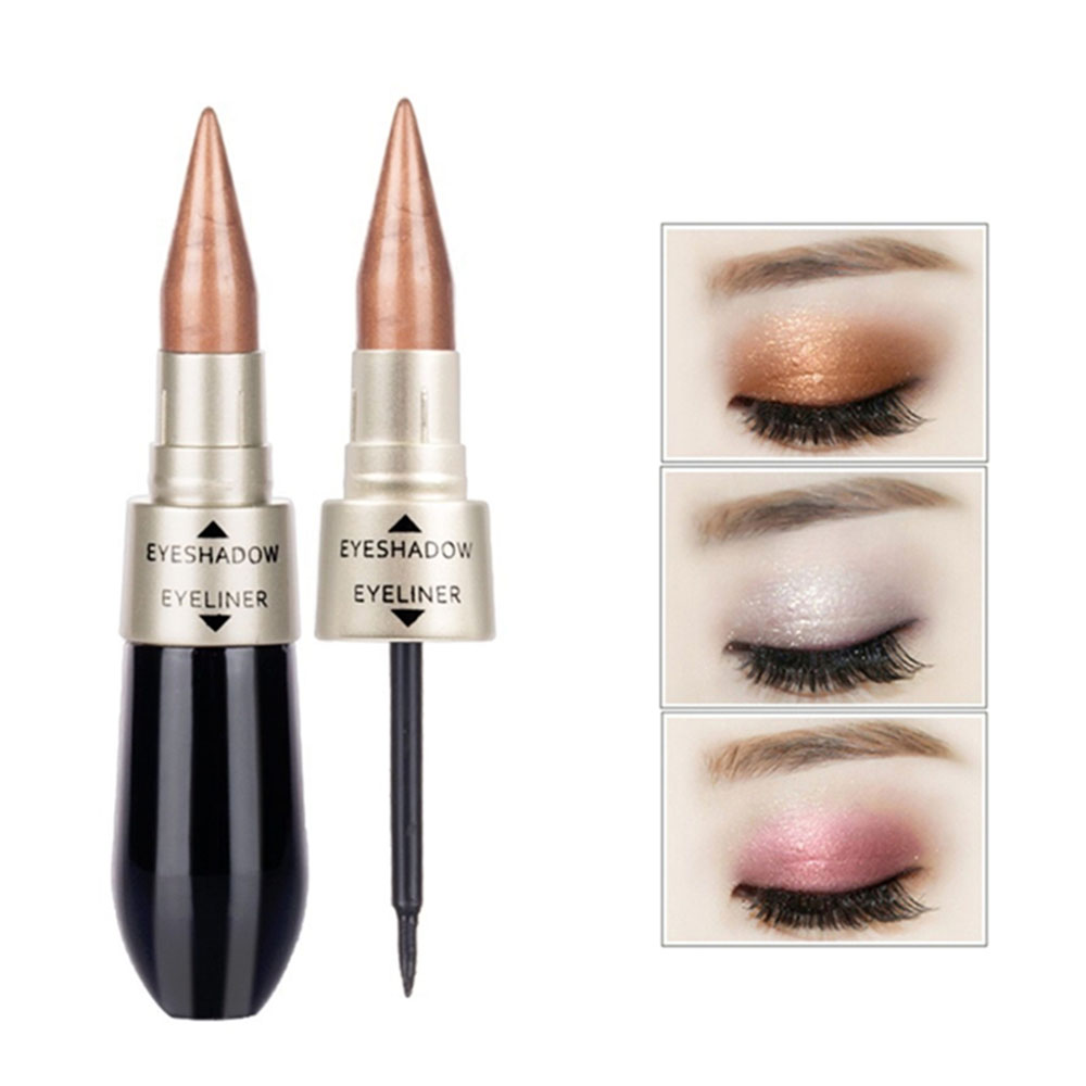 Waterproof 2 In 1 Black Liquid EyeShadow Eyeliner Pen Double-end Eye Liner Pencil Eye Shadow Combination Makeup Tool TSLM1