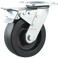 1 PCS 5 Inch Heavy Duty High Temperature Resistance Caster Wheels Truckle Locking Caster Wheel