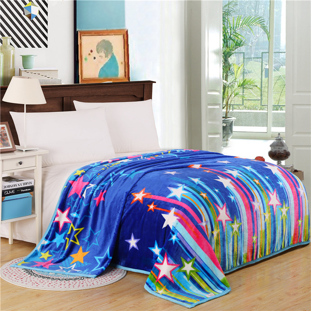 Home Textiles,chromatic Stars Style Coral Fleece Blankets For Bed  Bedclothes Throw Can Be As