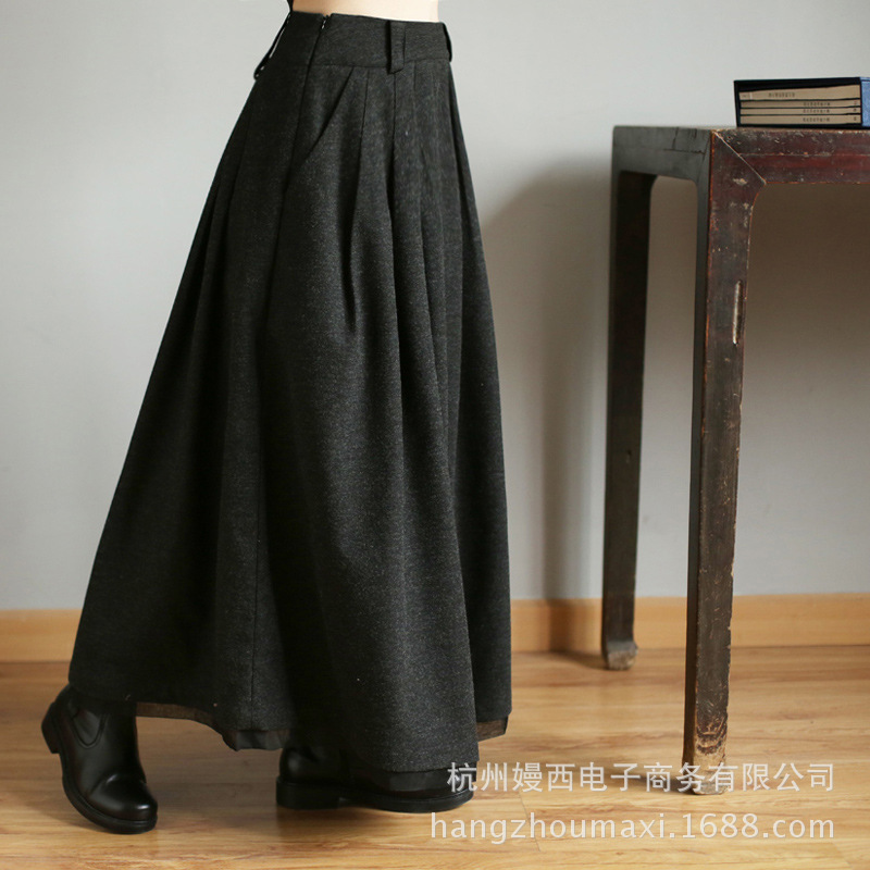 Mujer Black Cintura De Faldas 2018 Negro Alta Elegante Lana Falda Para Moda 4Paqxwxt0