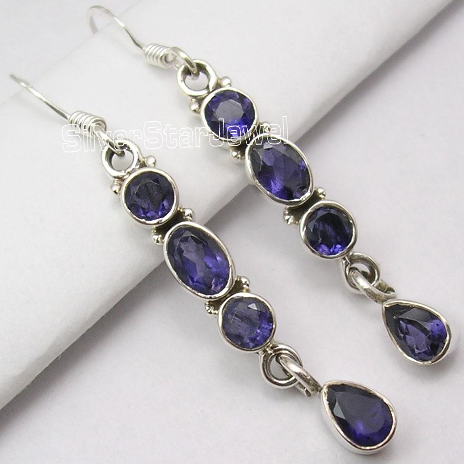 Multi Gem DANGLING Earrings  Solid Silver IOLITE LONG Earrings 4 7 CM