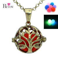 Antique Bronze Tree Of Life Hollow Locket Glow In The Dark Beads Pendant Necklace Aromatherapy Essential
