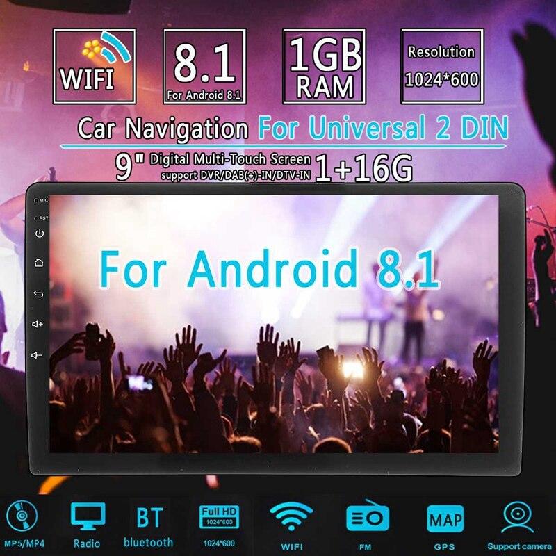 2 Din 9 pouces Android 8.1 universel autoradio Double Din stéréo Gps Navigation dans tableau de bord vidéo Wifi Usb Bluetooth autoradio Multi