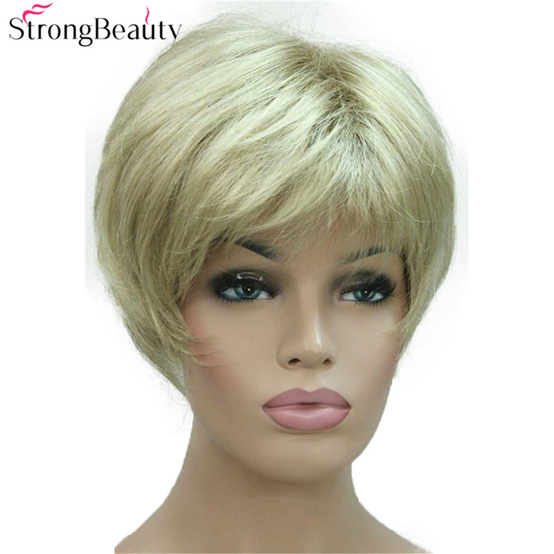 Strong Beauty Short Synthetic Straight Wigs Heat Resistant Black Hair For Women