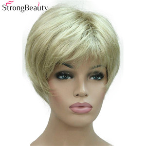 Image 4 - Strong Beauty Short Synthetic Straight Wigs Heat Resistant Black Hair For Women