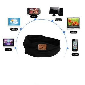 Image 2 - soft Bluetooth Headband cap Stereo Headphones Music Earphones Sleep Headset hat Sports Headband with Mic Answer Call for iPhone