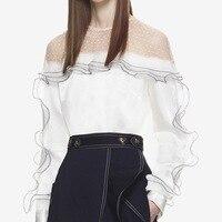 Self Portrait Desinger Women Tops 2018 Spring Elegant O Neck Long Sleeve Lace Chiffon Ruffles Dot