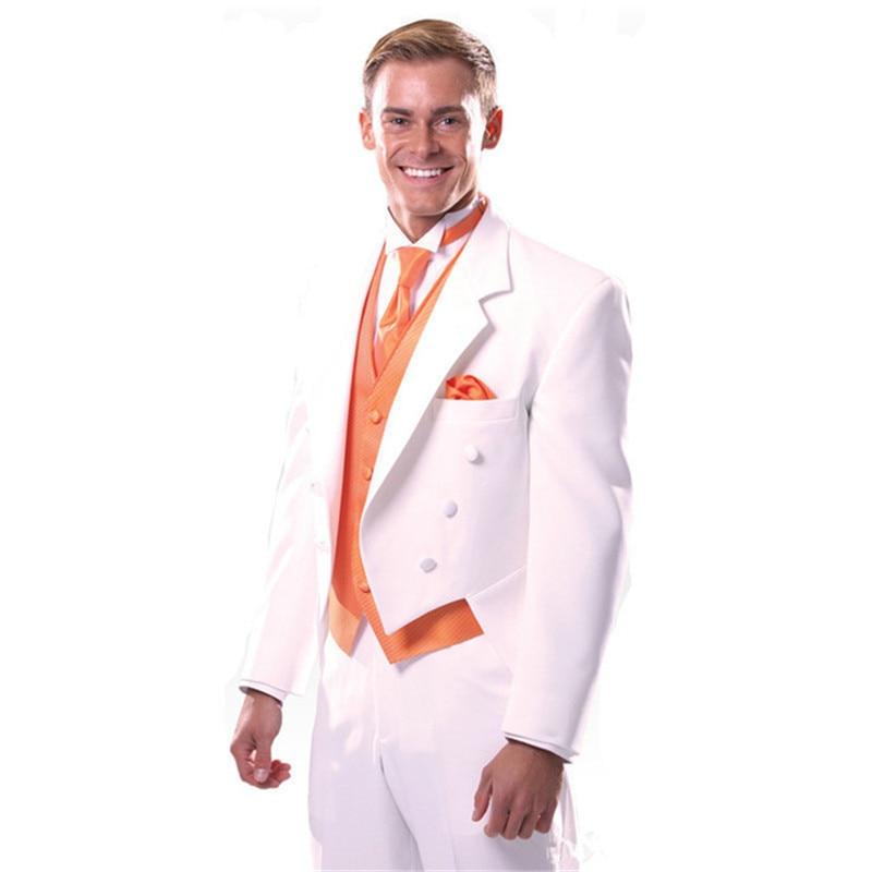 Custom Made Mannen Pak Luxe Notch Revers 2017 Lange Staart 3 stuk Formele Witte Smoking Mens Wedding Suits (Jasje + broek + Vest)-in Pakken van Mannenkleding op  Groep 1
