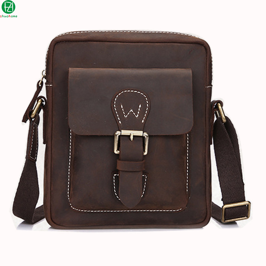 ФОТО 100% genuine leather men messenger bags really carzy horse leather men shoulder bag Unique design business men travel Laptop bag