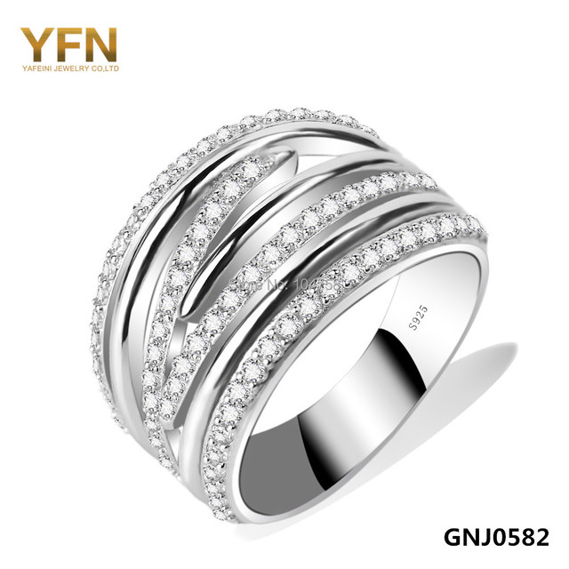 GNJ0582 2016 Anel Genuine 925 Sterling Silver Big Ring Fashion Jewelry Cubic Zirconia Wedding Band Rings For Women