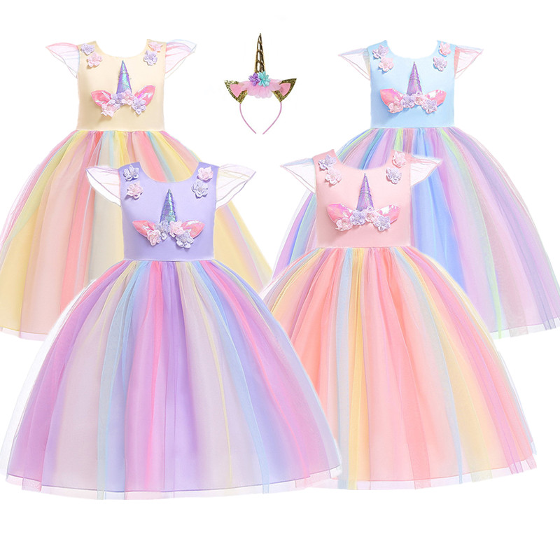 Baby Girl Unicorn Kids Party Dresses Girls Princess Dress