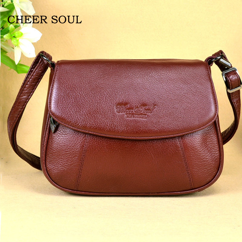 CHEER SOUL Genuine Leather Small Ladies Messenger Bags Female 