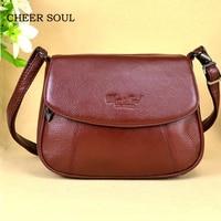 CHEER SOUL Genuine Leather Small Ladies Messenger Bags Female Casual Shoulder Crossbody Bags For Women Luxury Handbag Sac A Main