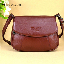CHEER SOUL Genuine Leather Small Ladies Messenger Bags Female Casual Shoulder Crossbody Bags For Women Luxury Handbag Sac A Main