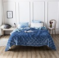 FAMVOTAR Premium Heavy Velvet Quilted Bedspread Set Sofa Couch Ultra Soft Warm Coverlet Quilt 5 Solid Color Geometric Pattern