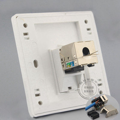 Wall Socket Plate One Port Gigabit Shield CAT6 LAN Faceplate Outlet Adapter 86x86mm single double port rj45 thick wall plate faceplate wall mount installation with rj45 & rj11 keystone socket outlet