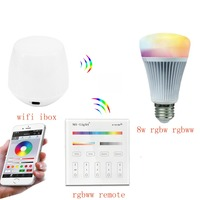 Mi.light 2.4G B4/T4 4-Zone RGB+CCT Touch Panel Remote Controller+8W RGB+CCT Led Bulb Lamp+Wifi Ibox Controller With APP Control