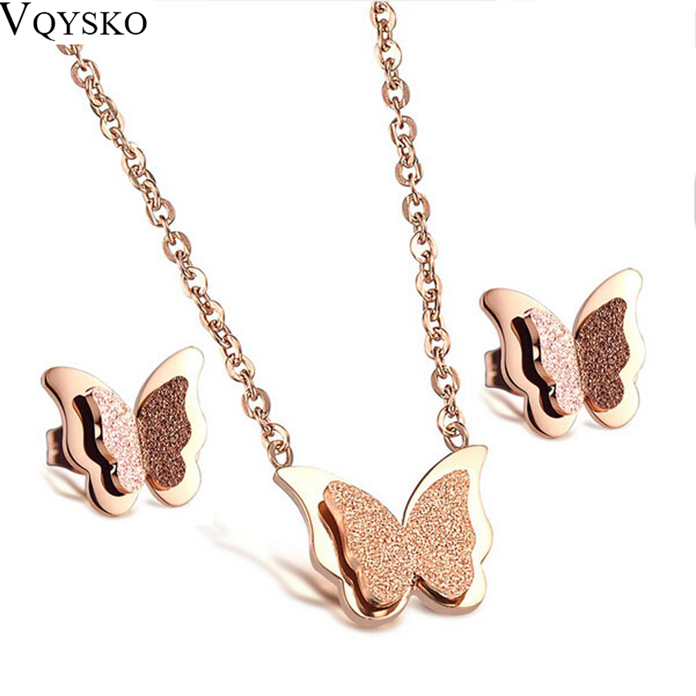 Romantis Kupu-kupu Kalung + Set Perhiasan Anting-Anting Mode Rose Gold-Warna Stainless Steel Wanita Engagement Aksesoris